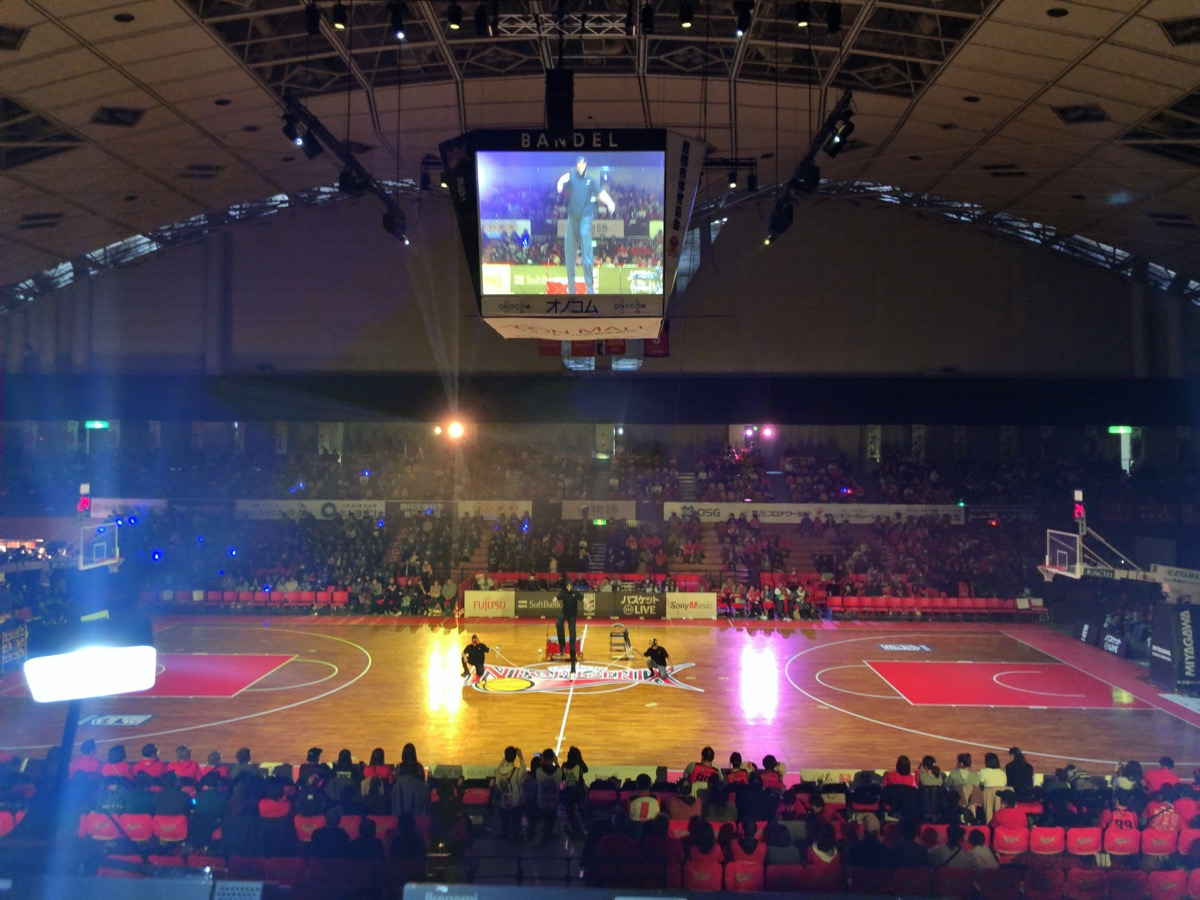 豊橋市総合体育館でのBリーグ公式戦開始前のアトラクション